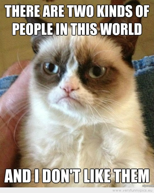 Funny Picture - Grumpy cat two konds of people in the world and i dont like them