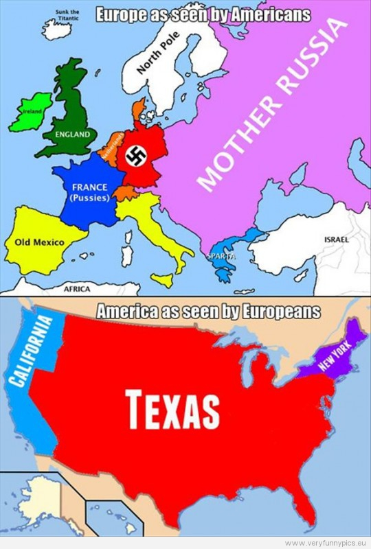 Funny Pictures - Europe as seen by Americans VS America as seen by europeans