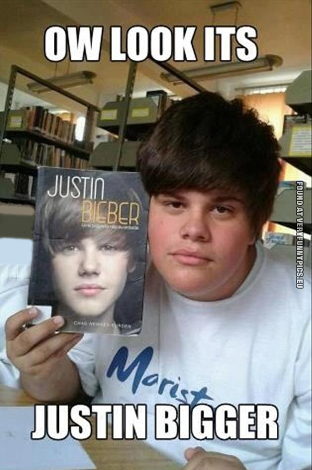 Funny Pictures - Ow look it's Justin Bigger