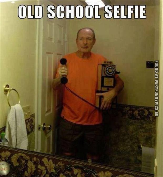 Funny Picture Old School Selfie