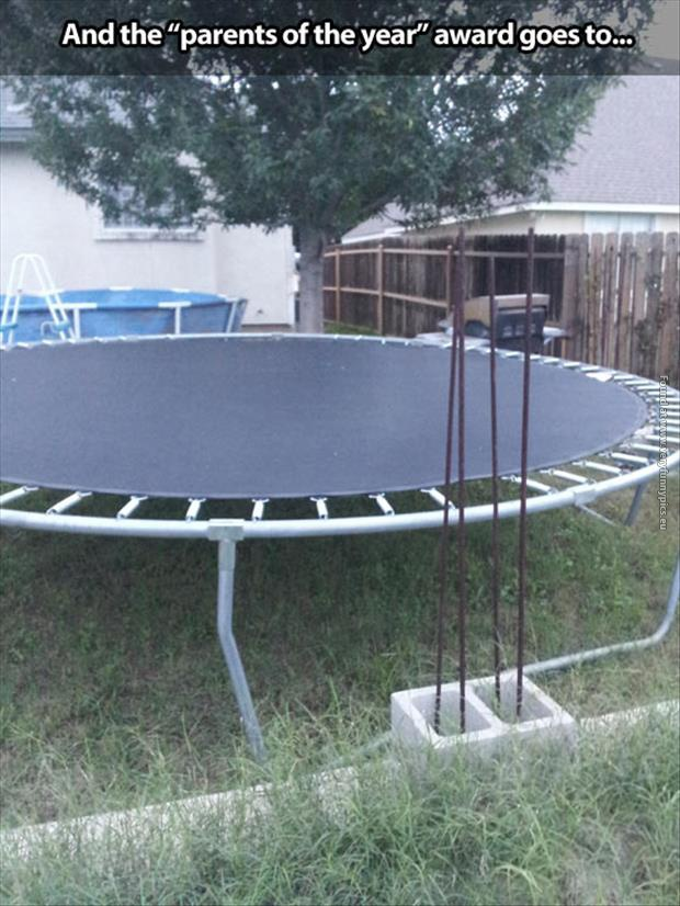 funny pics parents of the year award trampoline