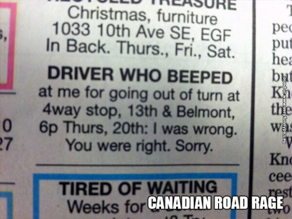 Canadian road rage