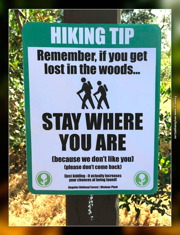 Funny Pictures Hiking Sign
