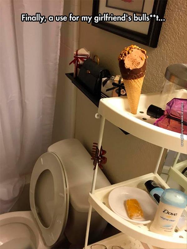 Using the bathrooms shelf like a boss
