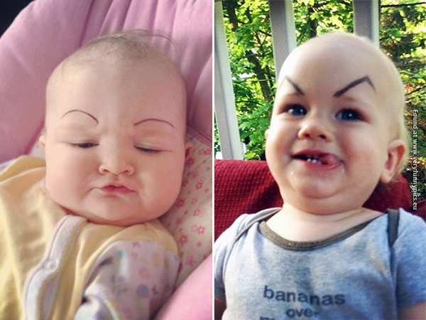 funny pictures babies with eybrows drawn on them 01