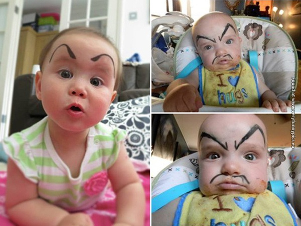 funny pictures babies with eybrows drawn on them 02