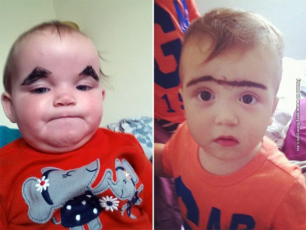 funny pictures babies with eybrows drawn on them 04