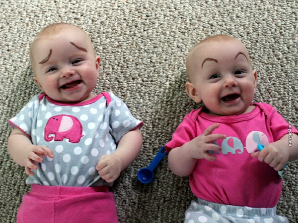 funny pictures babies with eybrows drawn on them 06