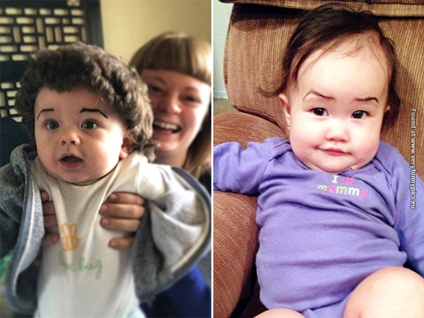 funny pictures babies with eybrows drawn on them 09