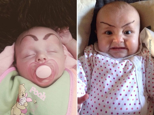 funny pictures babies with eybrows drawn on them 11