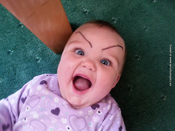 funny pictures babies with eybrows drawn on them 12