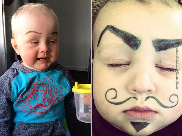 funny pictures babies with eybrows drawn on them 13