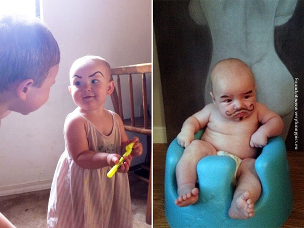 funny pictures babies with eybrows drawn on them 14