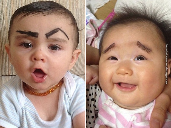 funny pictures babies with eybrows drawn on them 15