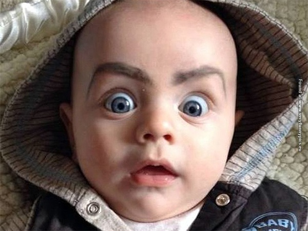 funny pictures babies with eybrows drawn on them 16