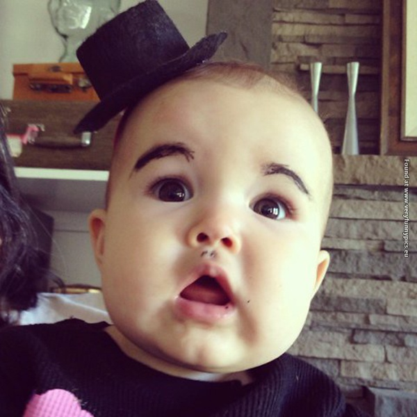 funny pictures babies with eybrows drawn on them 17