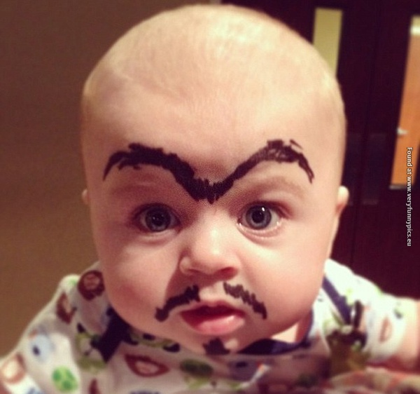 funny pictures babies with eybrows drawn on them 20