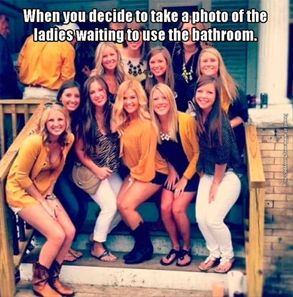 Why do women always crouch on pictures?