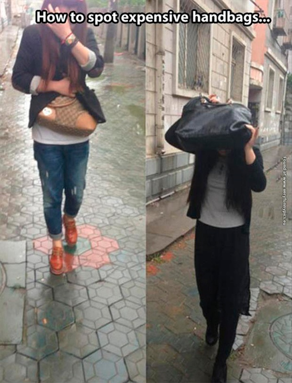 The rain will give you the truth about handbags
