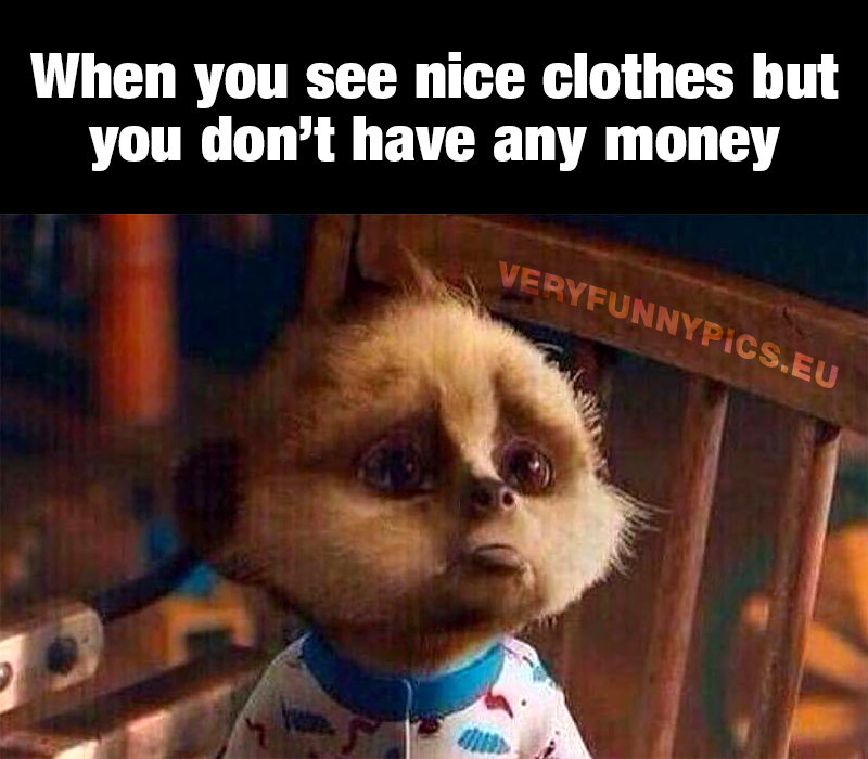 Sad cartoon figure - When you see nice clothes but you don't have any money