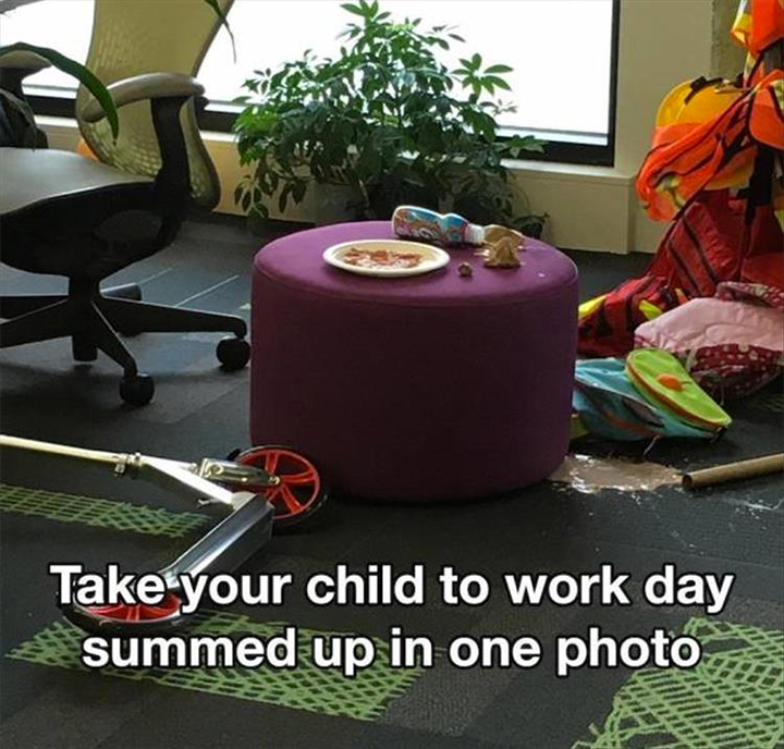 Messy office - Take your child to work day summed up in one photo