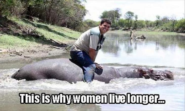 Man riding a hippo - Why women live longer