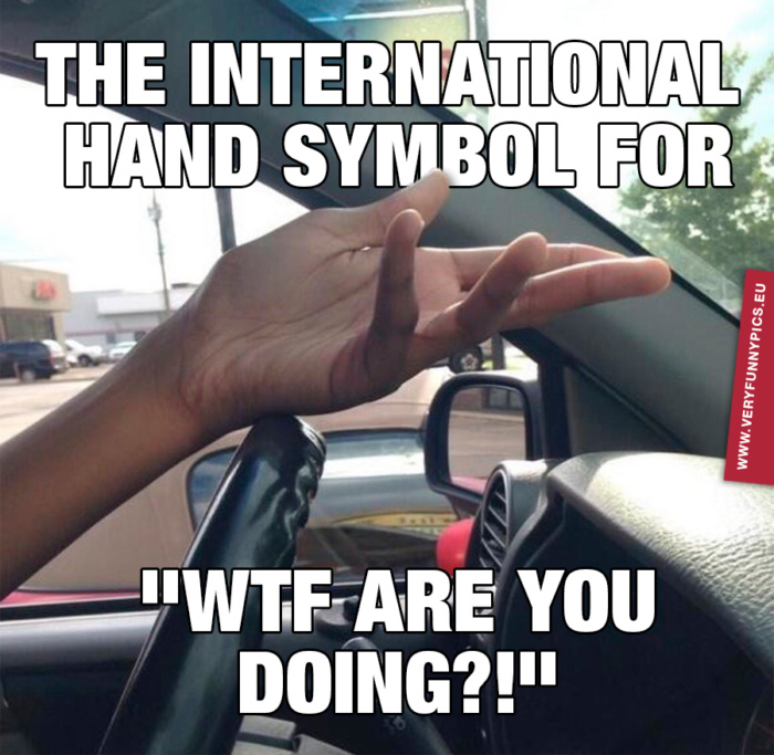 The only gesture you need when driving a car anywhere in the world