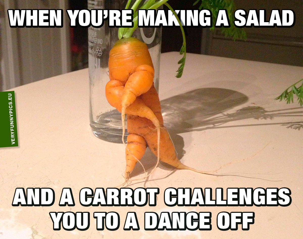 Carrot with a dance pose - When your'e making a salad and a carrot challenges you do a dance off