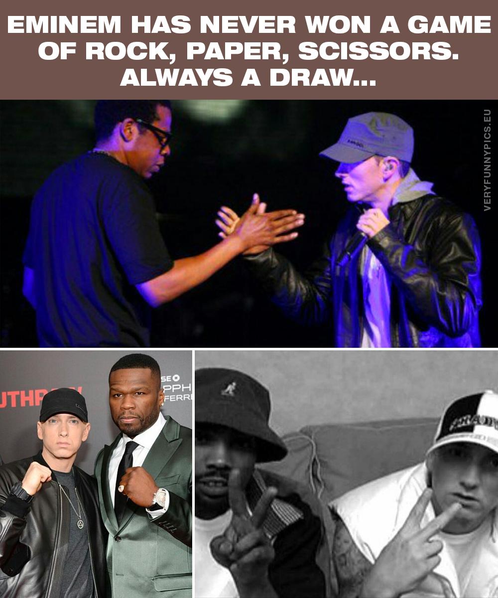 Eminem plays rock, paper, scissors