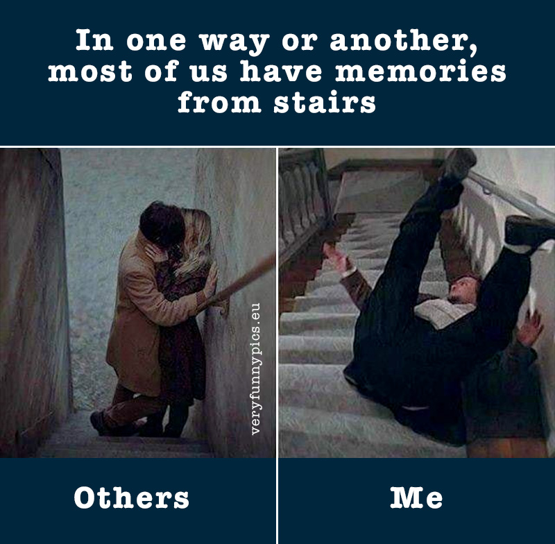 Couple kissing in stairs - Man falling in stairs
