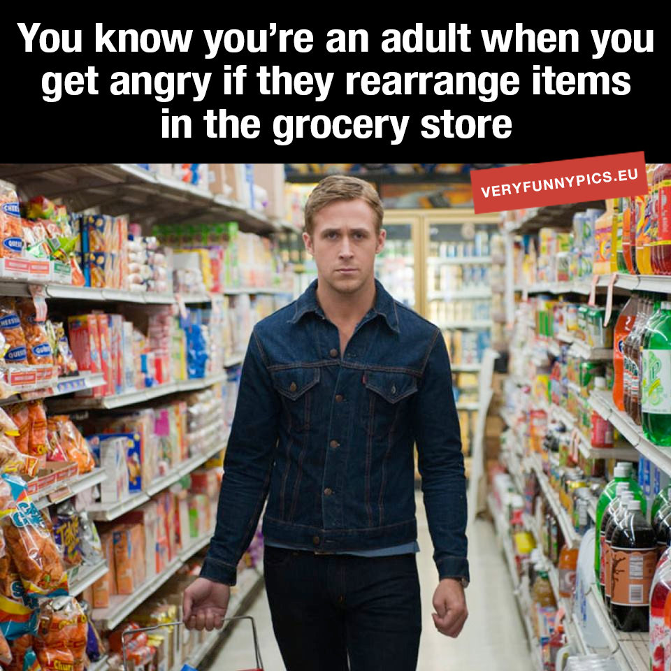 Angry man in grocery store