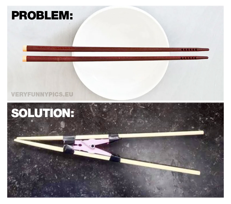 Solution to eating with chopsticks